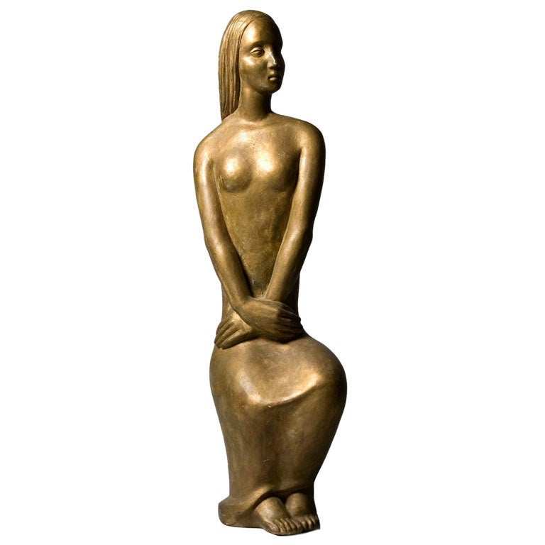 Art Deco Patinated Plaster Sculpture