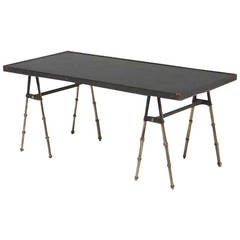 Stitched Leather Coffee Table by Jacques Adnet