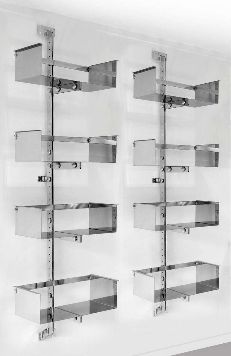 A Chromed Steel Library Unit Designed by Vittorio Introini 2