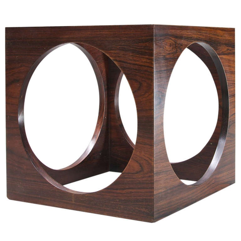 1960u0027s Mid Century Modern Geometric Rosewood U0026 Glass Cube Side Table 1