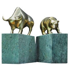 1970's Bull and Bear Stock Broker Brass Marble Bookend Sculptures