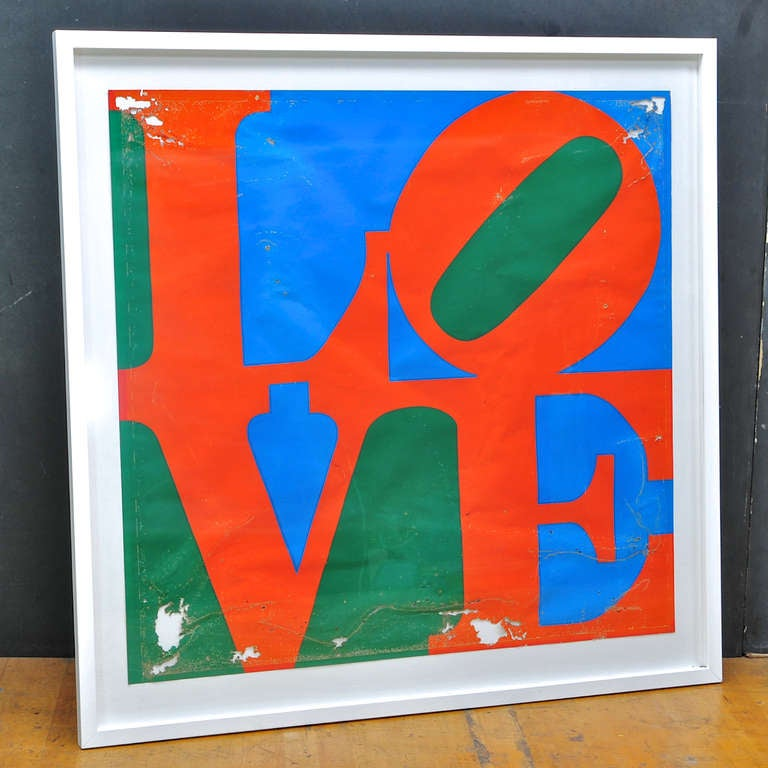Salvaged from the caribbean an early Robert Indiana unsigned, LOVE serigraph. Now mounted as a specimen, in as-found condition, just gassed, mounted and framed. Original owner had possession since 1970, so I am assuming this is one of the large