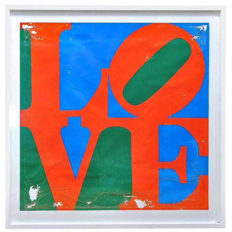 1970s Robert Indiana LOVE Serigraph Poster Patina Modernist Decay Pop Art Warhol