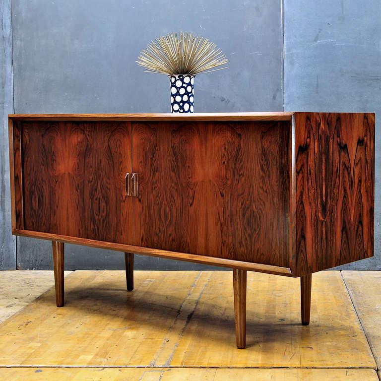 Kofod Larsen Danish Brazilian Rosewood Tambour Door Credenza Cabinet 3