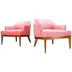 Harvey Probber Walnut Fin Leg Slipper Lounge Chairs