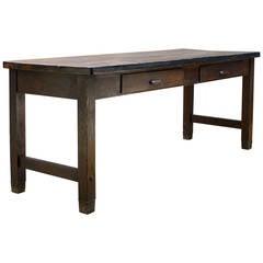 Arts & Crafts Kewaunee Mfg. Co. Laboratory Library Oak Maple Iron Table