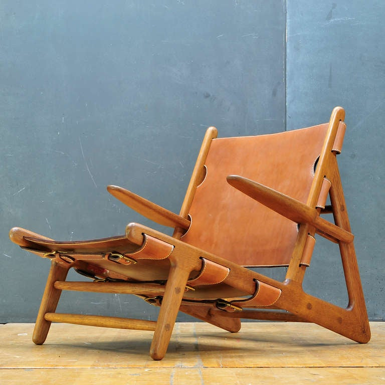 Carved 1949 Hunting Chair Borge Mogensen Erhard Rasmussen Labeled Leather Sling Lounge For Sale