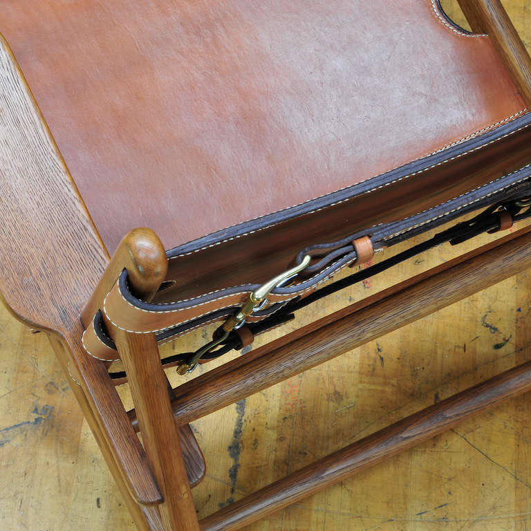 1949 Hunting Chair Borge Mogensen Erhard Rasmussen Labeled Leather Sling Lounge In Good Condition For Sale In Washington, DC