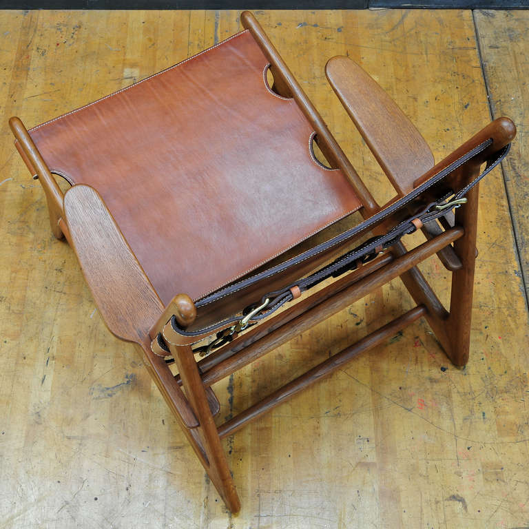 1949 Hunting Chair Borge Mogensen Erhard Rasmussen Labeled Leather Sling Lounge For Sale 1