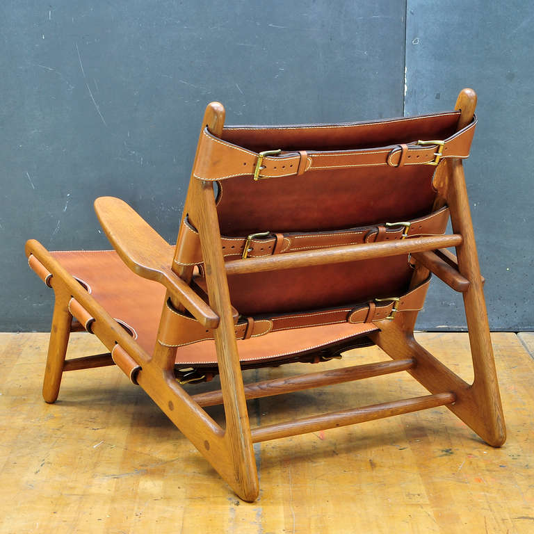 Scandinavian Modern 1949 Hunting Chair Borge Mogensen Erhard Rasmussen Labeled Leather Sling Lounge For Sale