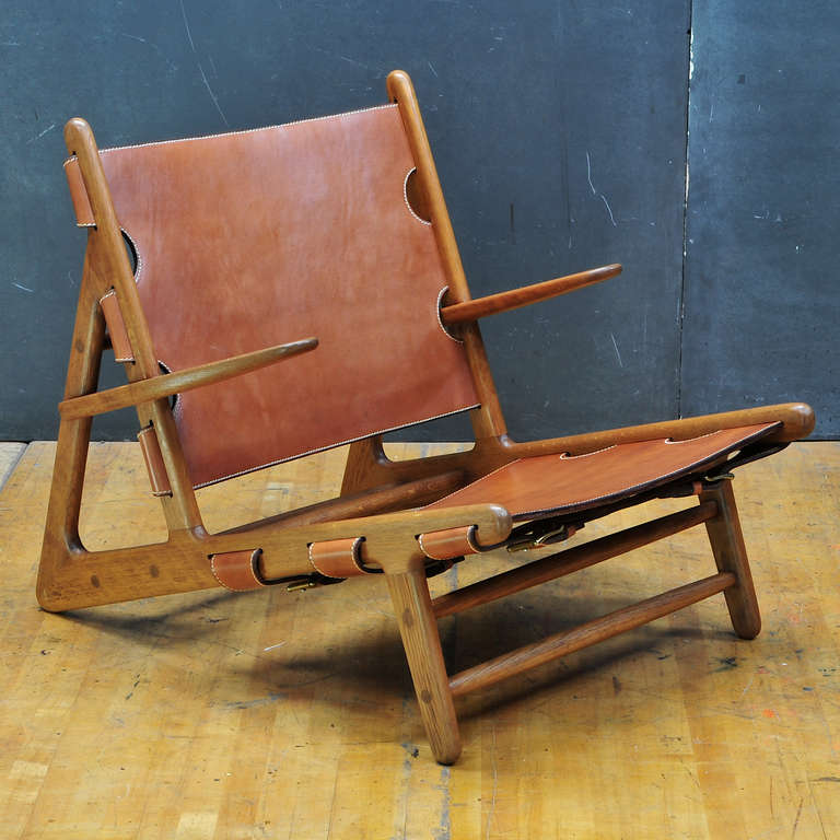 Danish 1949 Hunting Chair Borge Mogensen Erhard Rasmussen Labeled Leather Sling Lounge For Sale