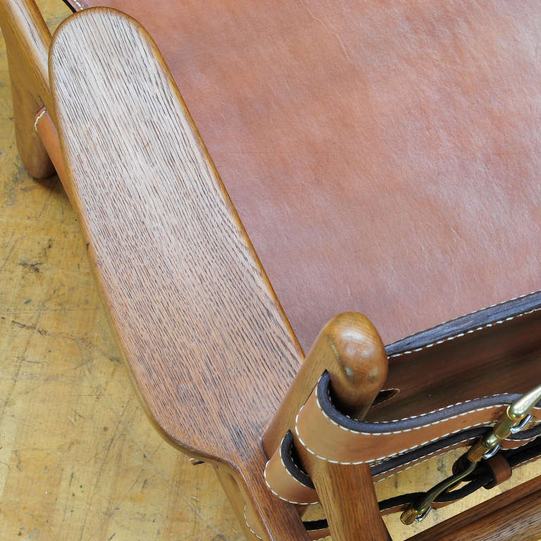 1949 Hunting Chair Borge Mogensen Erhard Rasmussen Labeled Leather Sling Lounge For Sale 2