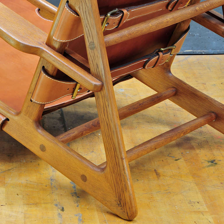 Mid-20th Century 1949 Hunting Chair Borge Mogensen Erhard Rasmussen Labeled Leather Sling Lounge For Sale