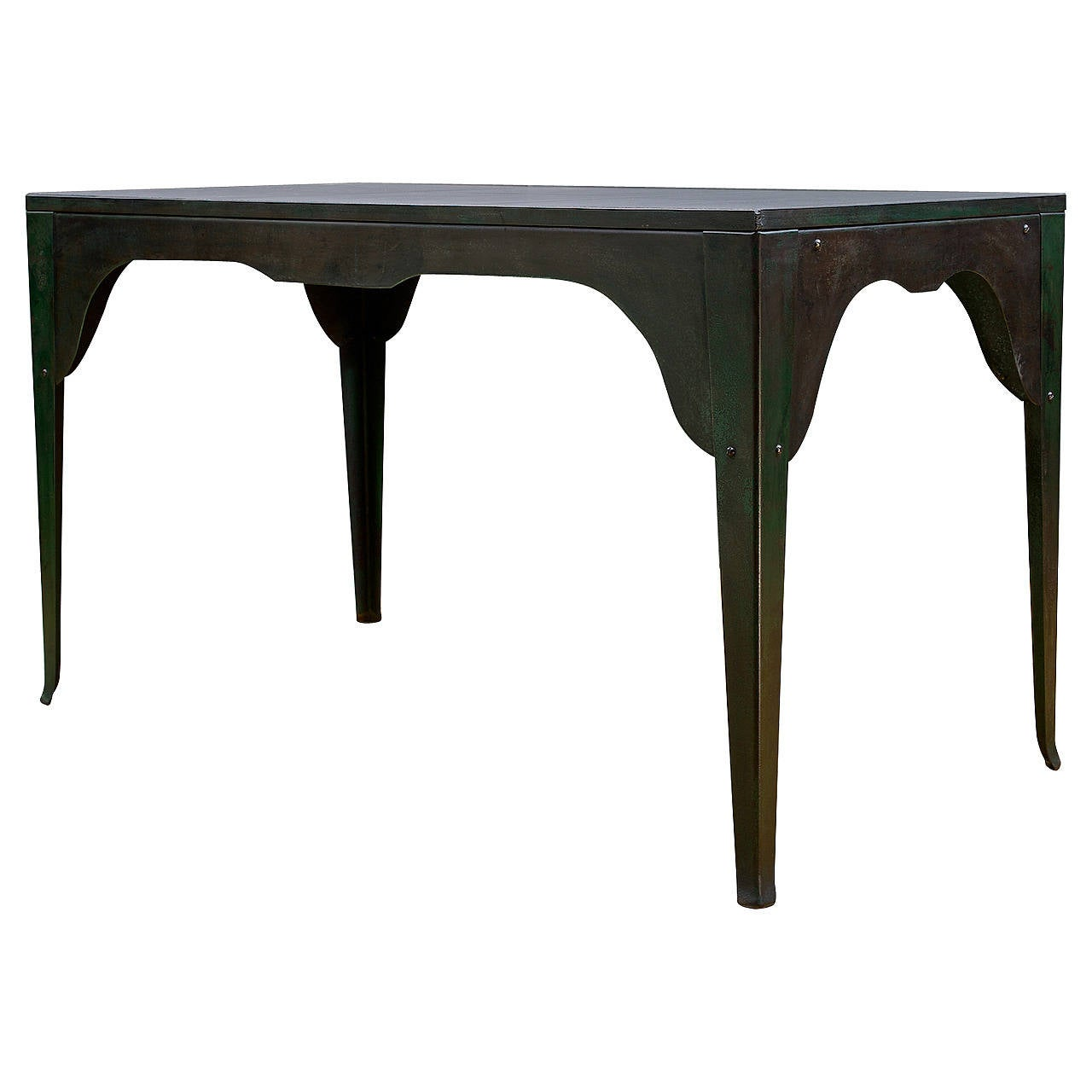 1920s silhouetted steel and slate industrial work table at for Furniture work table