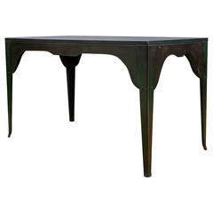 1920s Silhouetted Steel and Slate Industrial Work Table