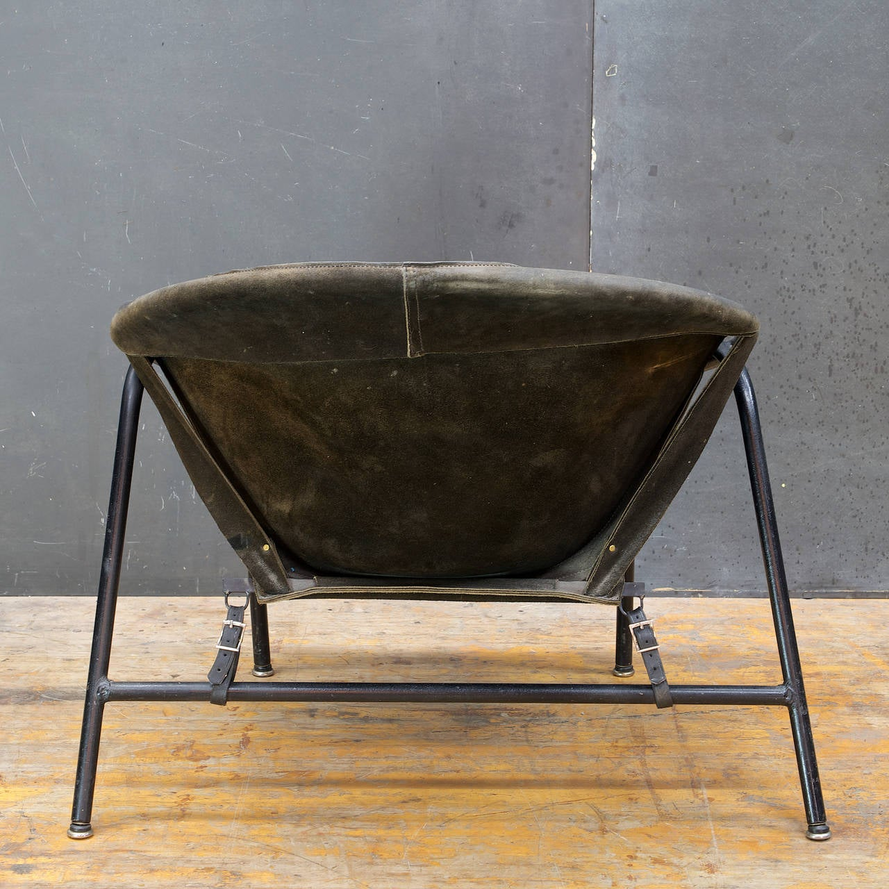 Dyed Mid-Century Danish Erik Jorgensen Suede Leather Sling Chair by Bovirke Denmark For Sale