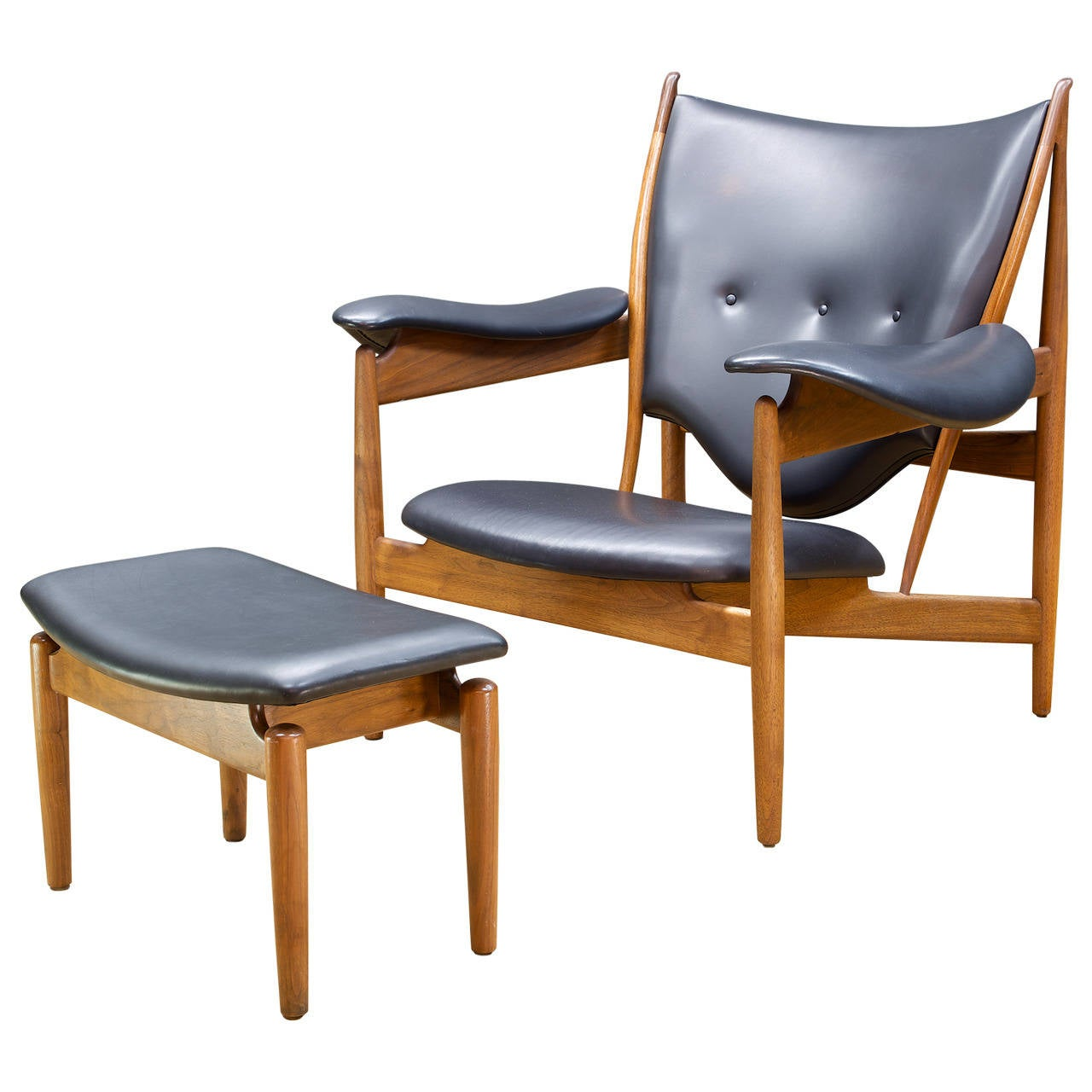 Finn Juhl Walnut Teak Chieftain Chair and Ottoman for Baker