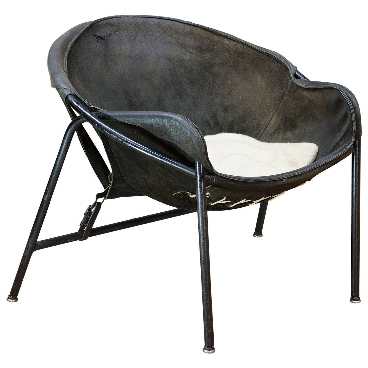 Erik J Rgensen Suede Leather Sling Chair By Bovirke