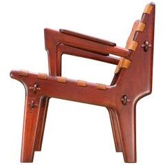 Angel Pazmino Modern Leather Slung Easy Armchair