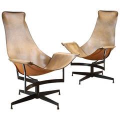 1950s Rare Katavolos Swivel K Leather Sling Chairs Leathercrafter