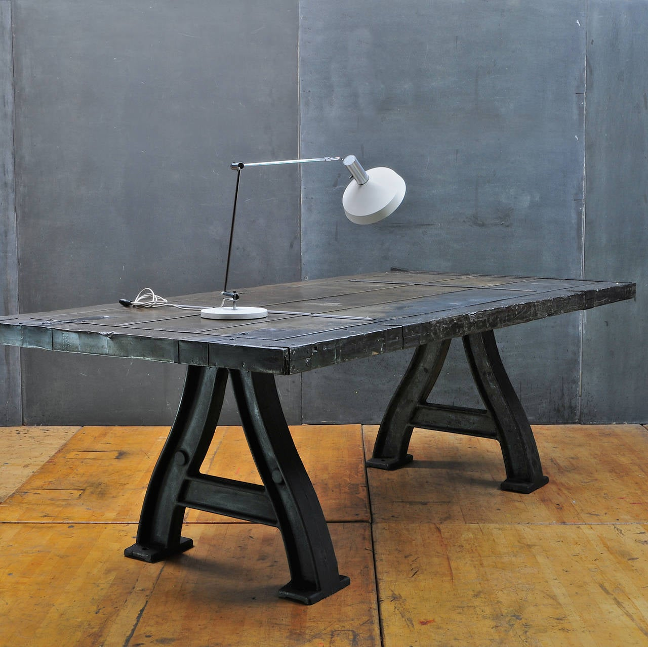 Iron Table Legs : Monumental Cast Iron Industrial Turbine Leg Dining Table at 1stdibs