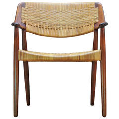 MADSEN & LARSEN designed Cane Teak Armchair by Willy Beck