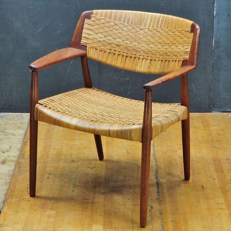 Madsen And Larsen Designed Cane Teak Armchair By Willy Beck At 1stdibs