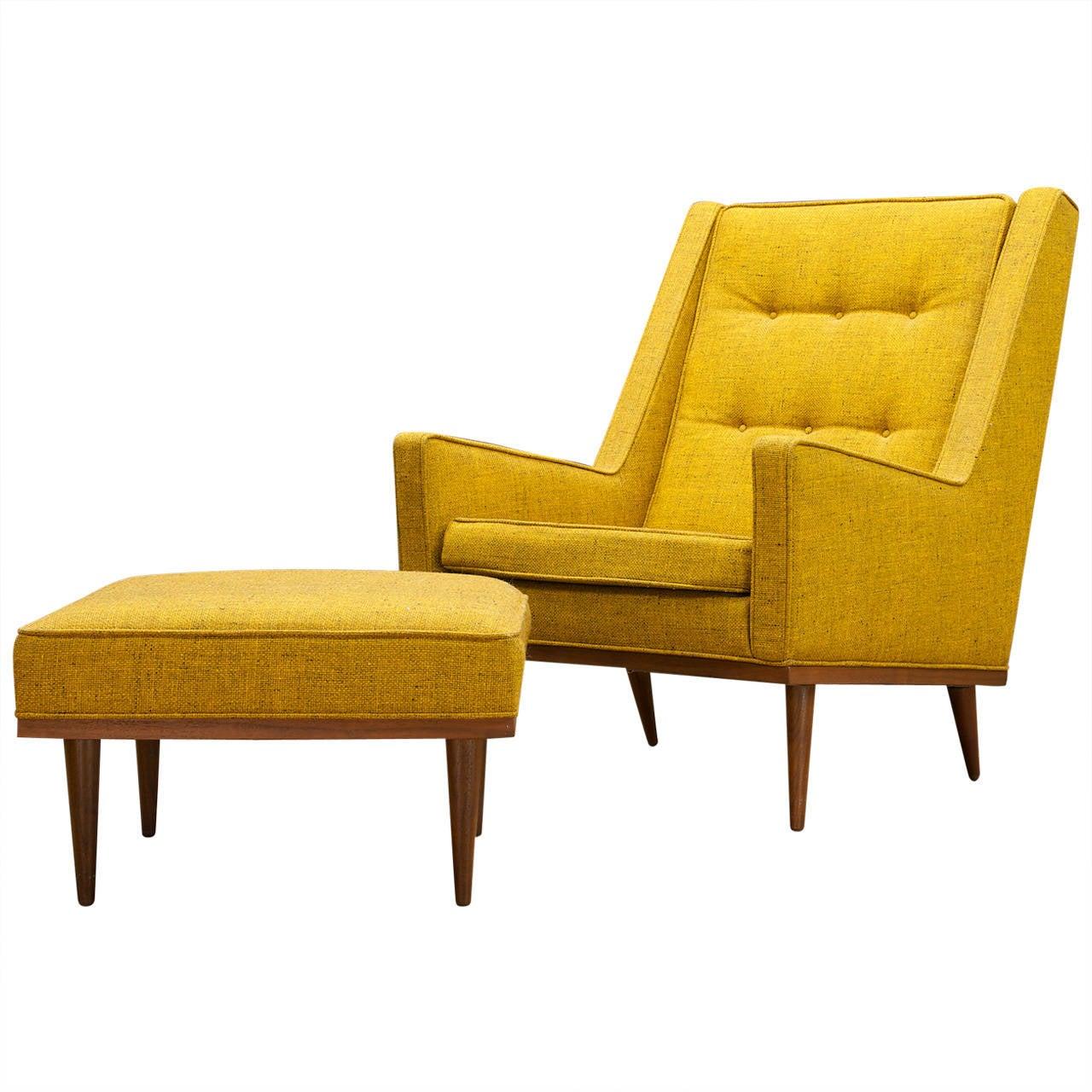 Milo Baughman Highback Articulate Chair Ottoman For