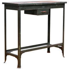 Vintage Industrial Steel Cinema Editors Desk Console Entryway Table
