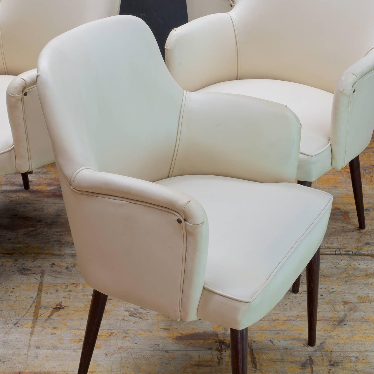 Five, 1950s Mid Century Italian Borsani Style Pencil Leg Arm Chairs 3