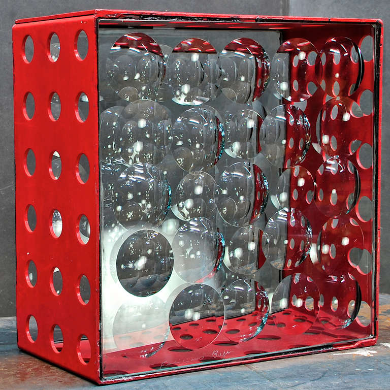Feliciano BéjarRuiz Magiscopic red perforated glass aluminum box. Bejar was a Mexican artist, best known for a style of sculpture called Magiscopios which involved various materials along with crystals and/or lenses to play with light or create