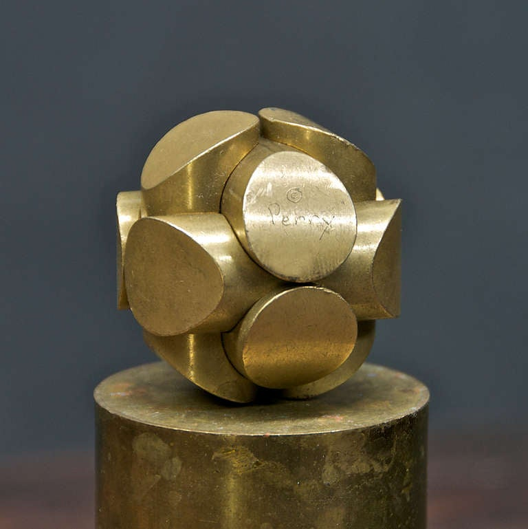 Charles O Perry Brass Mathematic Puzzle Sculpture For