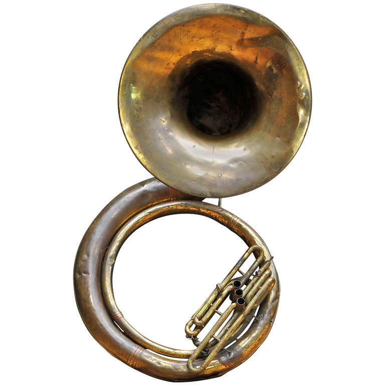 Monumental Brass Marching Band Sousaphone Tuba Horn Sculpture At 1stdibs