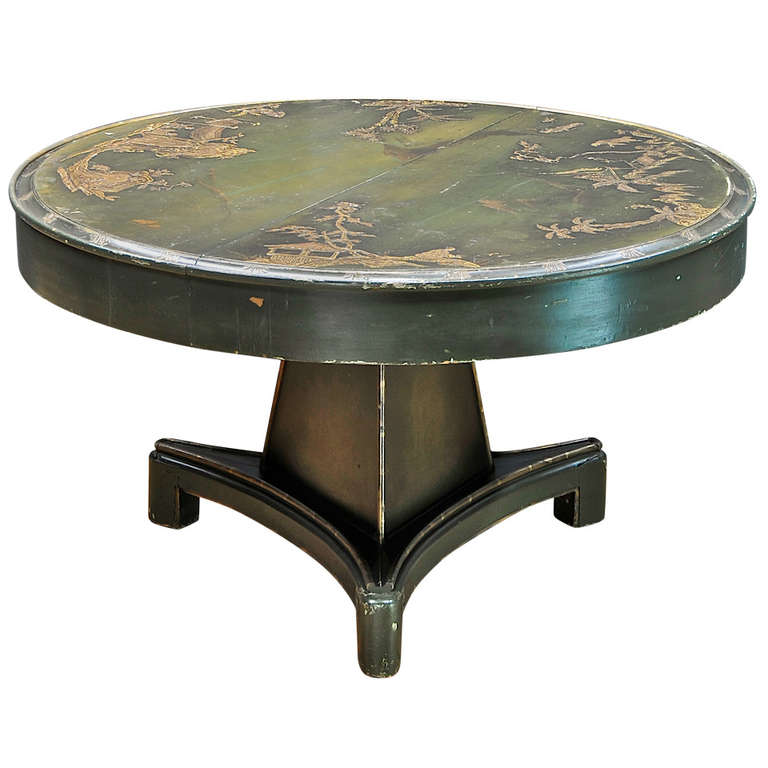 1920s Bauhaus Era German Chinoiserie Relief Dining Table For Sale At