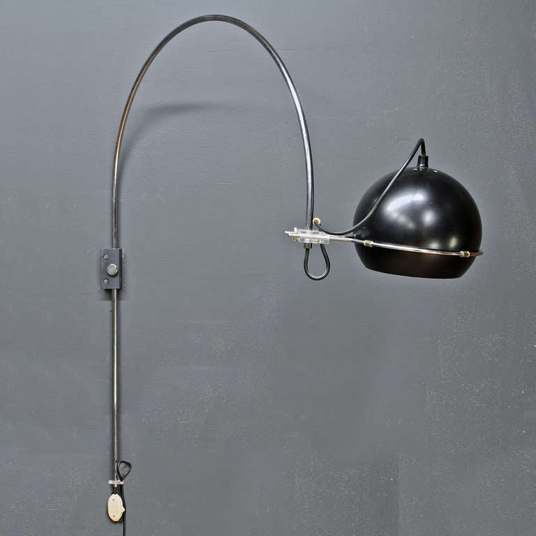 1960s Gepo Dutch Wall Mount Arc Eyeball Lamp at 1stdibs