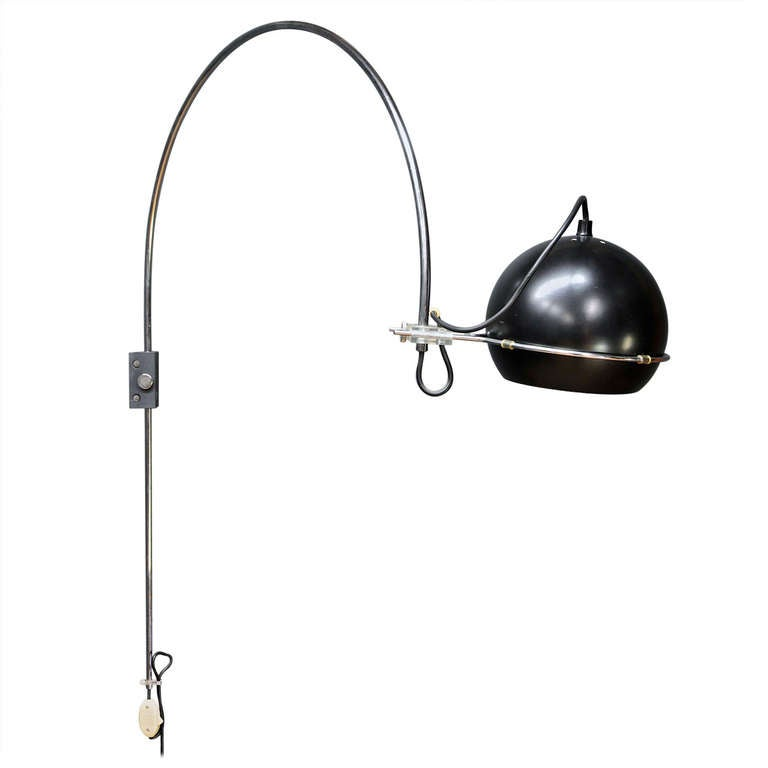 Wall Mounted Arc Lamp : Rare Dutch Gepo Wall Mount Arc Eye Ball Lamp at 1stdibs