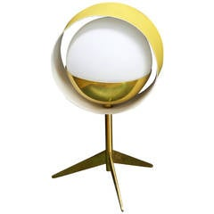 Stilux Milano Yellow Brass Saturn Tripod Atomic Table Lamp