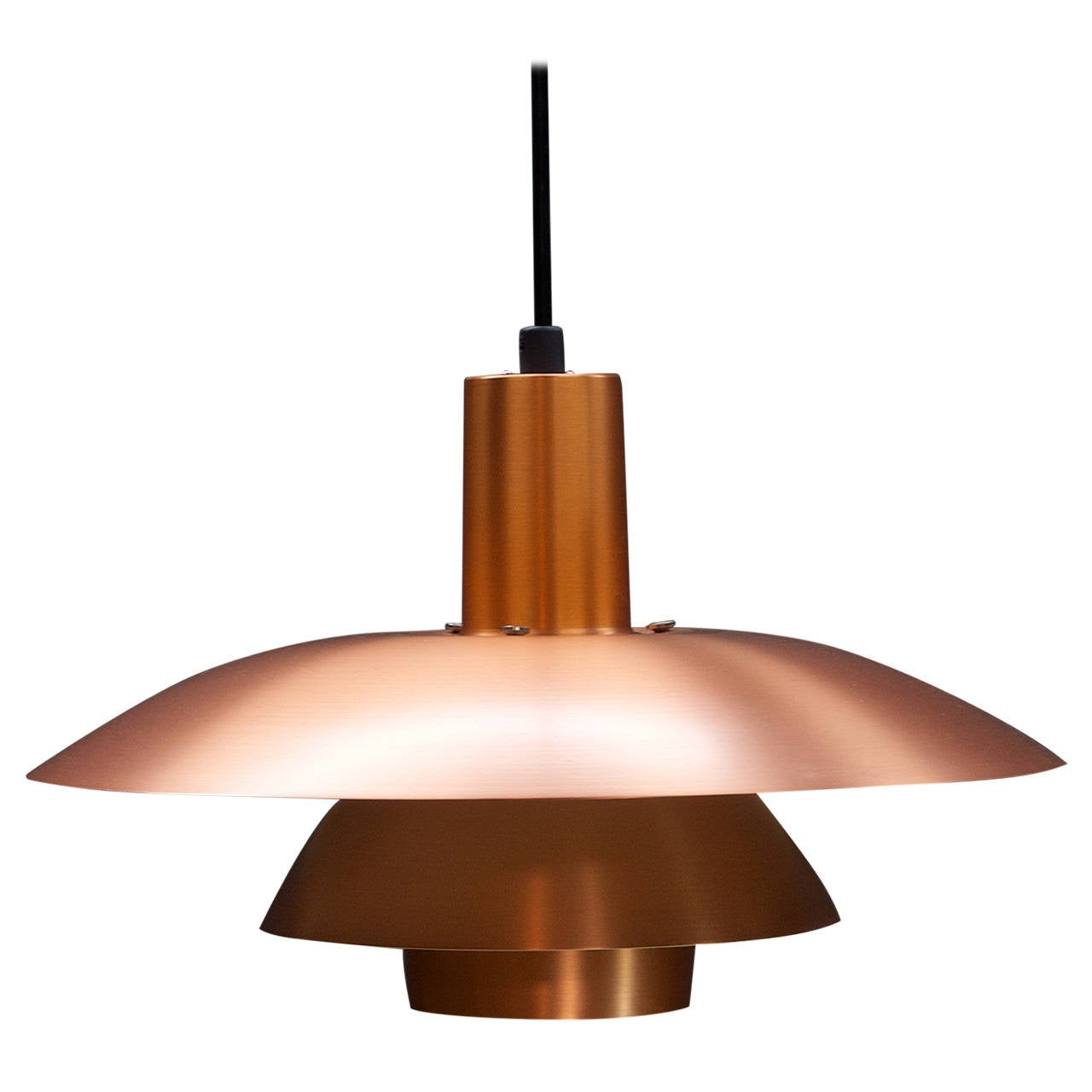 vintage poul henningsen copper plate ph4 pendant lamp at 1stdibs. Black Bedroom Furniture Sets. Home Design Ideas