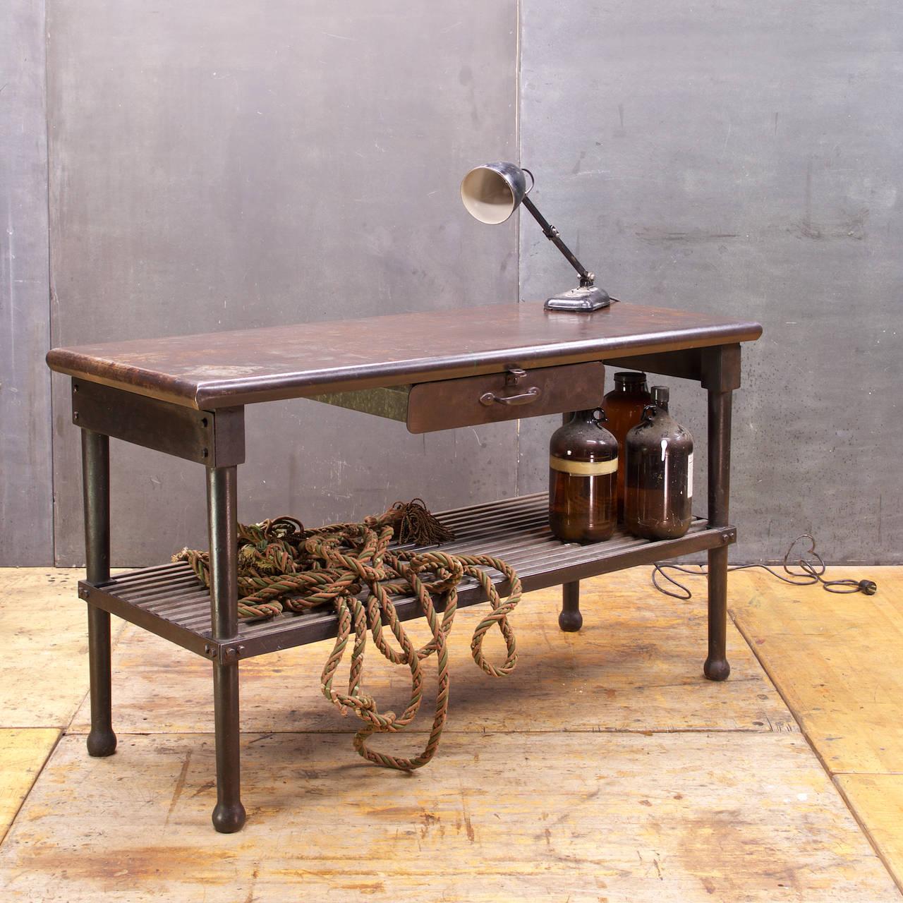 Farm House Industrial Era Kitchen Worktable Bohemian Dark Iron Wood Slat Kitchen For Sale At 1stdibs