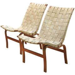 Pair of Bruno Mathsson Eva Armless Easy Chairs for Karl Mathsson