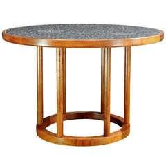 1960s Martz Dark Ceramic Walnut Table