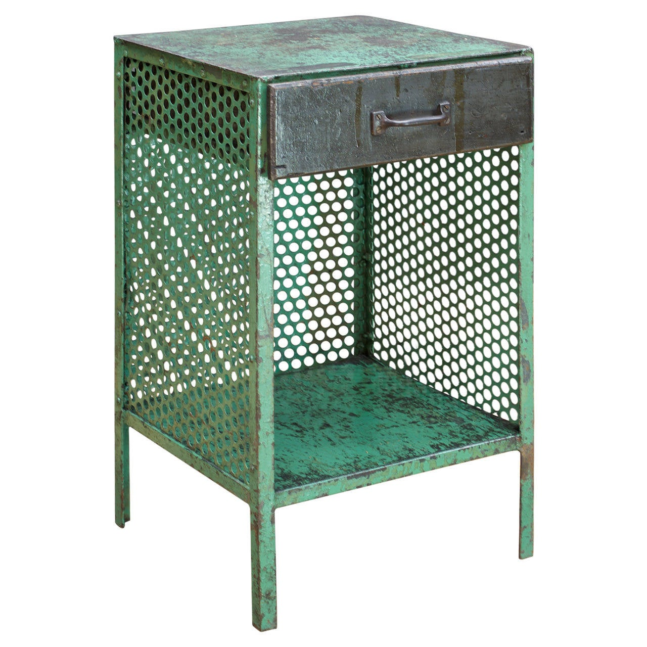 1930s Factory Made Perforated Metal Bedside Cabinet At 1stdibs