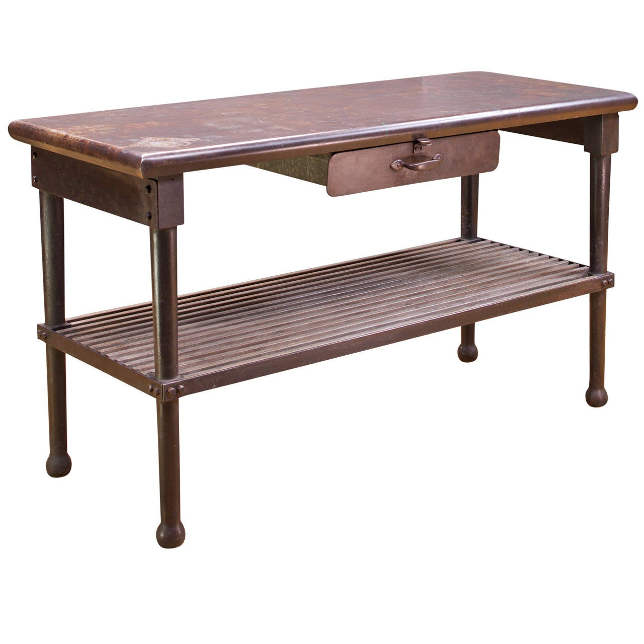 Genial Farm House Industrial Era Kitchen Worktable Bohemian Dark Iron Wood Slat  Kitchen For Sale