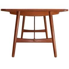 1950s Børge Mogensen Hunting Table Work Desk in Teak and Brass