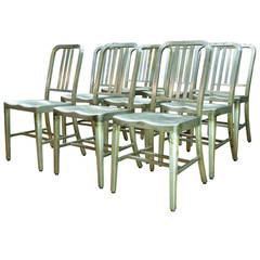 1940s Aluminum Machine Age Goodform Navy Side Chairs