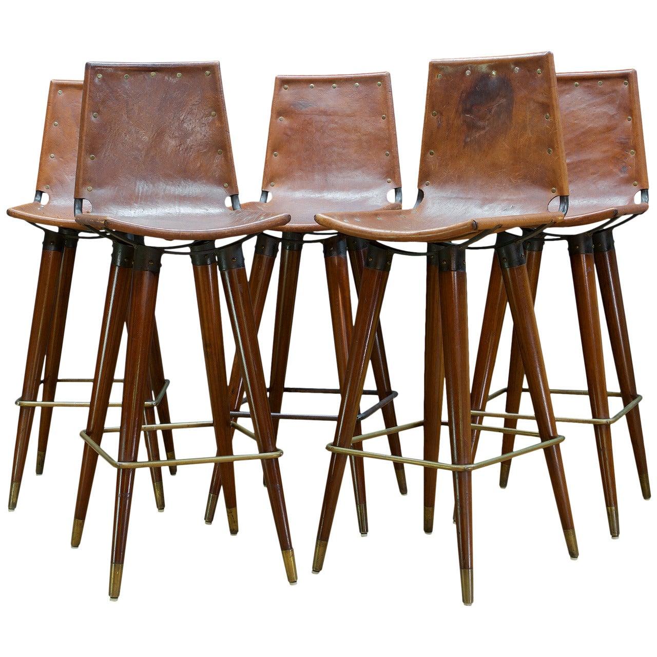 Remarkable 1960S Midcentury Leather Sling Iron Bar Stools At 1Stdibs Creativecarmelina Interior Chair Design Creativecarmelinacom