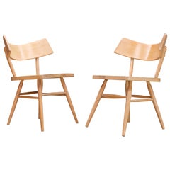 Pair of Edmund Spence Wingback Origami Side Chairs Vintage Mid-Century