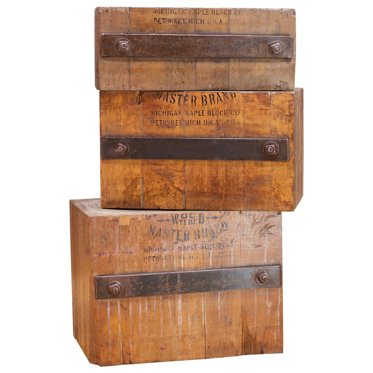 1910s Leathermans Anvils Set of 3 Art Block Monolith Sculpture Pedestal Table