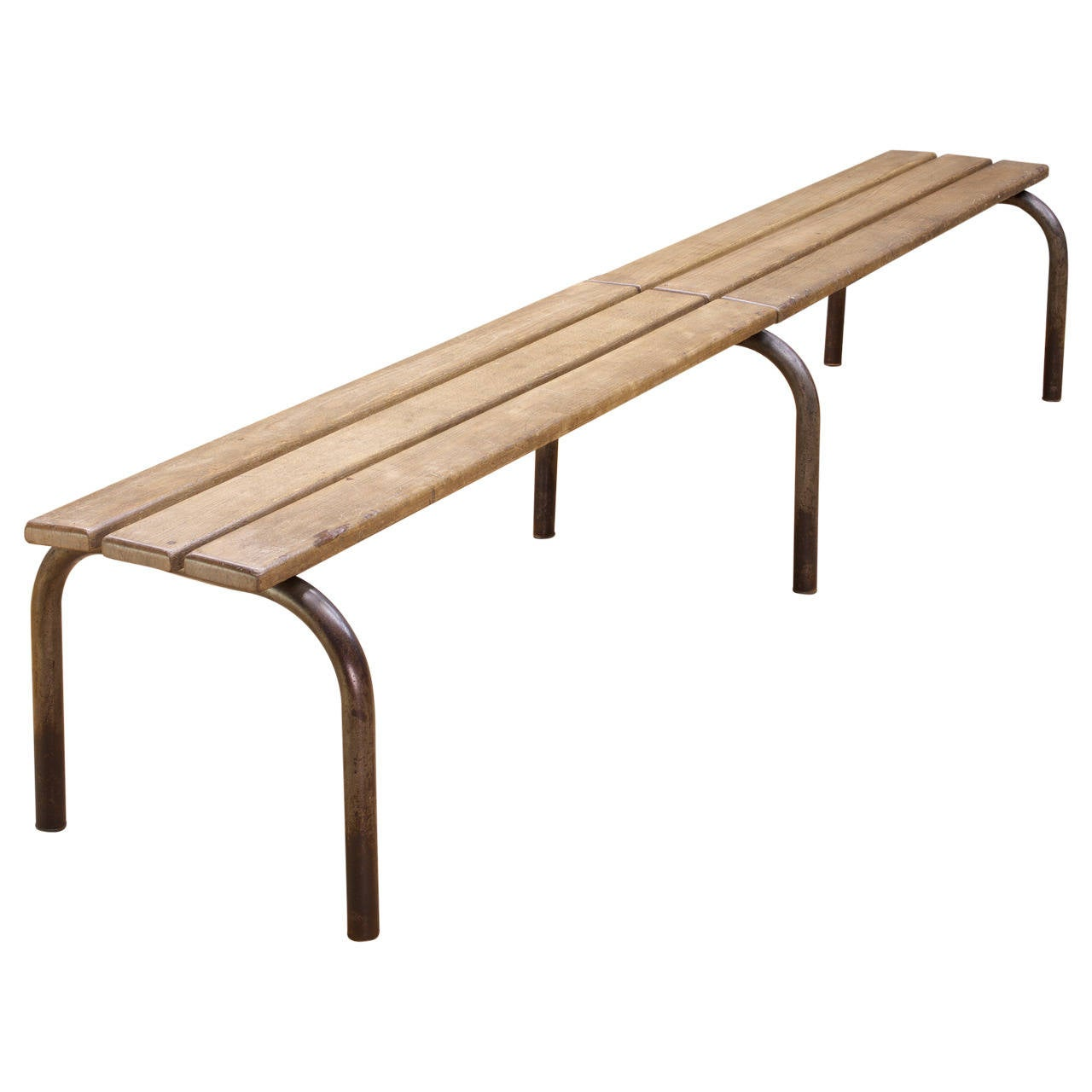 French Industrial Wood Steel Poolside Long Bench Prouve Perriand Malaval For Sale At 1stdibs