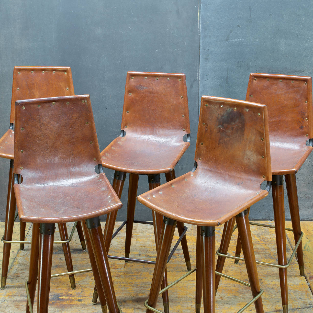 1960s Midcentury Leather Sling Iron Bar Stools At 1stdibs